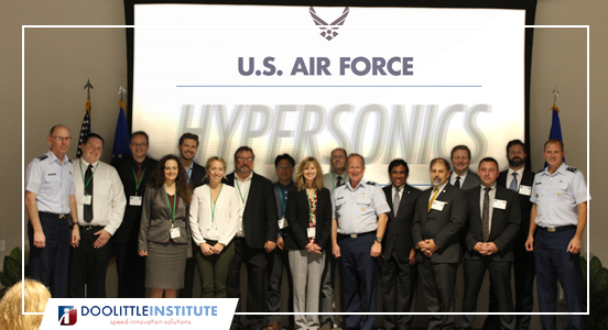 Hypersonics Pitch Day welcome banner with U.S. Airforce at the Doolittle Institute 2