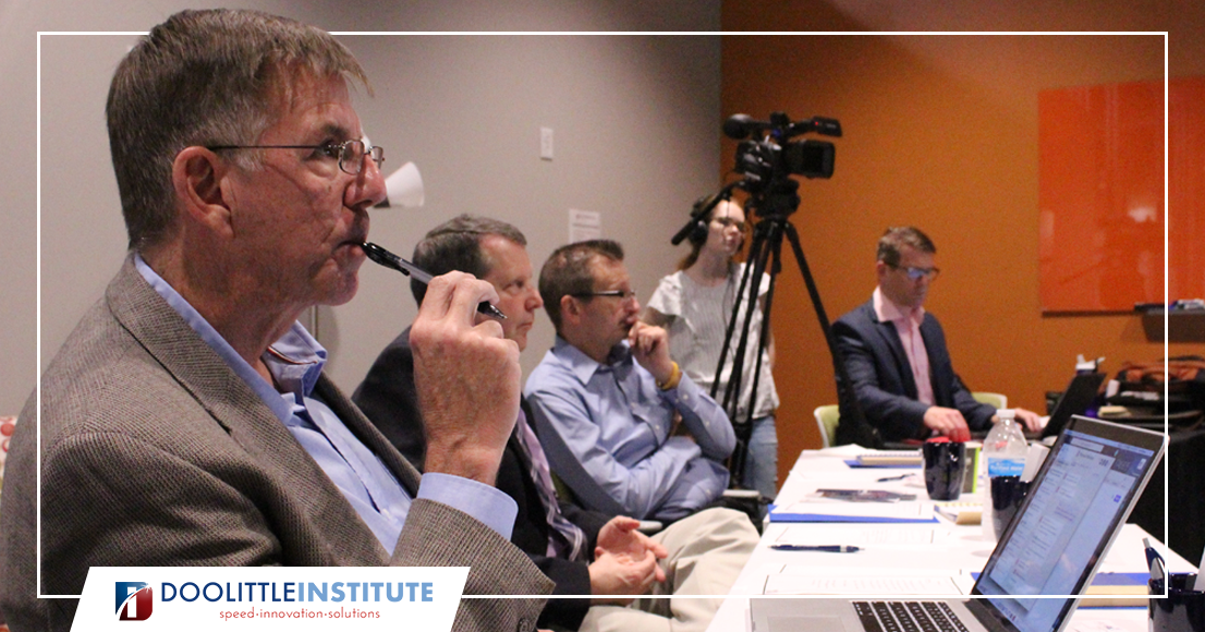 Steve Millaway considers commercial opportunities for an AFRL technology at the 10 April 2019 IDE..