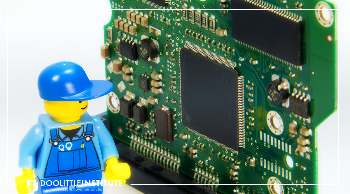 Lego with processor board banner